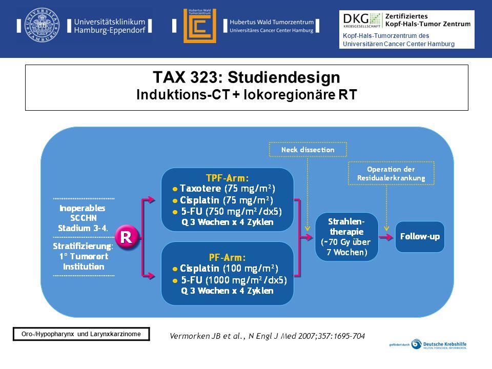 Kopf-Hals-Tumorzentrum des Universitären Cancer Center Hamburg TAX 324: Patientencharakteristika TPF (n=255)PF (n=246) Alter (Jahre) Median (Range) 55 (38 bis 82) 56 (33 bis 80) Geschlecht Mann 84 % 83 % PS (WHO) 0 1 56 % 44 % 51 % 48 % Lokalisation Mundhöhle Larynx Hypopharynx Oropharynx 13 % 18 % 17 % 52 % 15 % 17 % 14 % 53 % Posner MR et al., N Engl J Med 2007;357:1705-15 Medikamentöse Tumortherapie der Kopf-, Hals-Tumoren