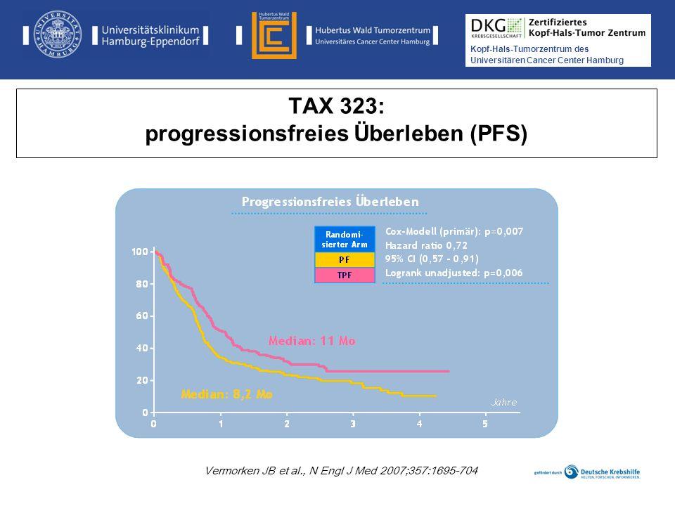 Kopf-Hals-Tumorzentrum des Universitären Cancer Center Hamburg Medikamentöse Tumortherapie der Kopf-, Hals-Tumoren TAX 324: Langzeitergebnisse 6 Jahre Lorch et al., 2011, Lancet Oncol, 12, 153-9 Medianes OS und PFS war für TPF vs.