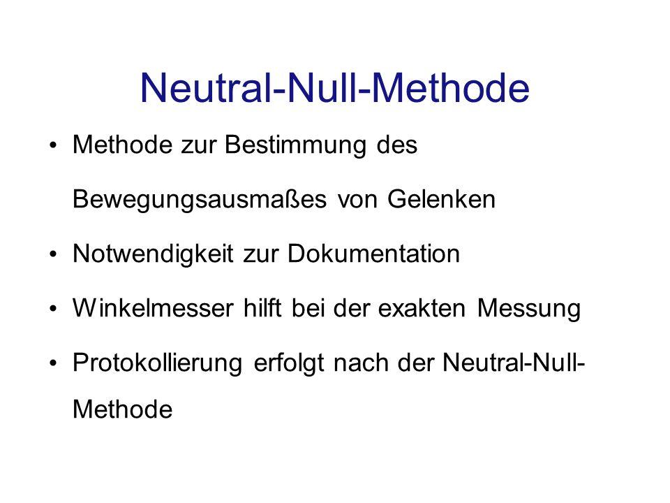 Neutral-Null-Methode Methode zur Bestimmung des Bewegungsausmaßes von Gelenken Notwendigkeit zur Dokumentation Winkelmesser hilft bei der exakten Mess