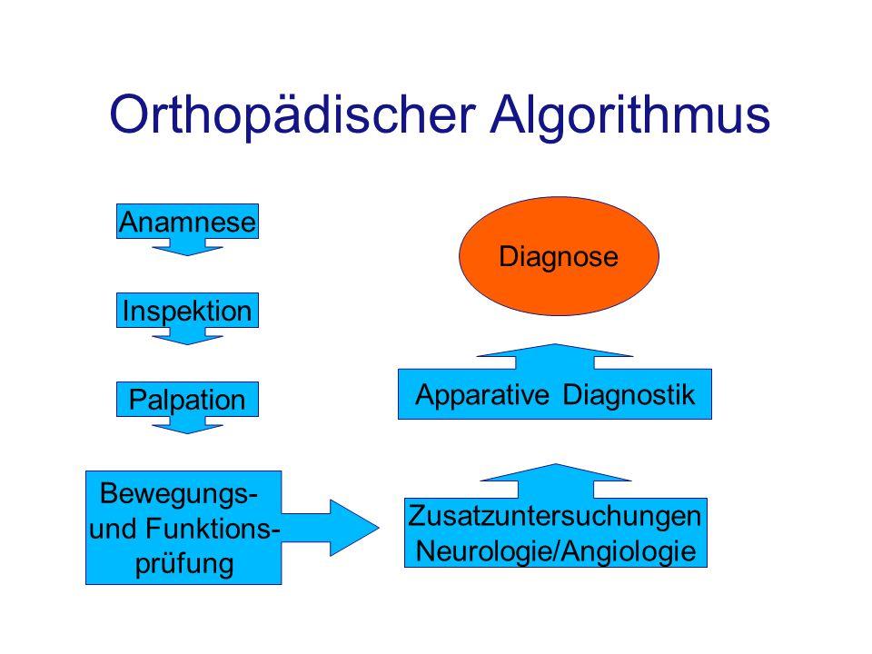 Orthopädischer Algorithmus Anamnese Inspektion Palpation Bewegungs- und Funktions- prüfung Apparative Diagnostik Diagnose Zusatzuntersuchungen Neurolo