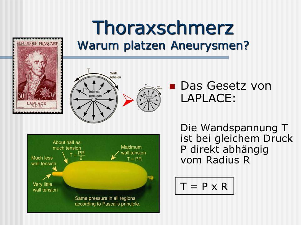 Thoraxschmerz Warum platzen Aneurysmen? Das Gesetz von LAPLACE: Die Wandspannung T ist bei gleichem Druck P direkt abhängig vom Radius R T = P x R