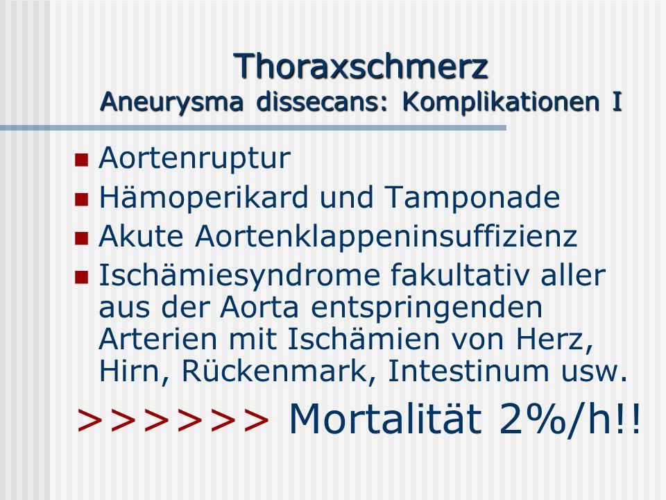 Thoraxschmerz Aneurysma dissecans: Komplikationen I Aortenruptur Hämoperikard und Tamponade Akute Aortenklappeninsuffizienz Ischämiesyndrome fakultati