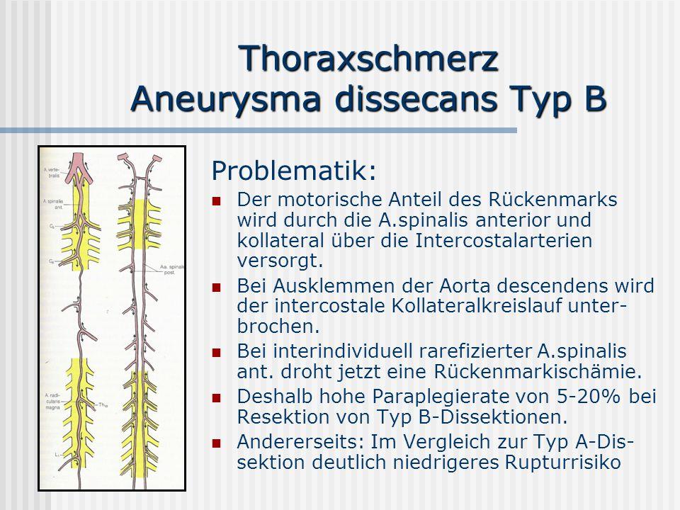 Thoraxschmerz Aneurysma dissecans Typ B Problematik: Der motorische Anteil des Rückenmarks wird durch die A.spinalis anterior und kollateral über die