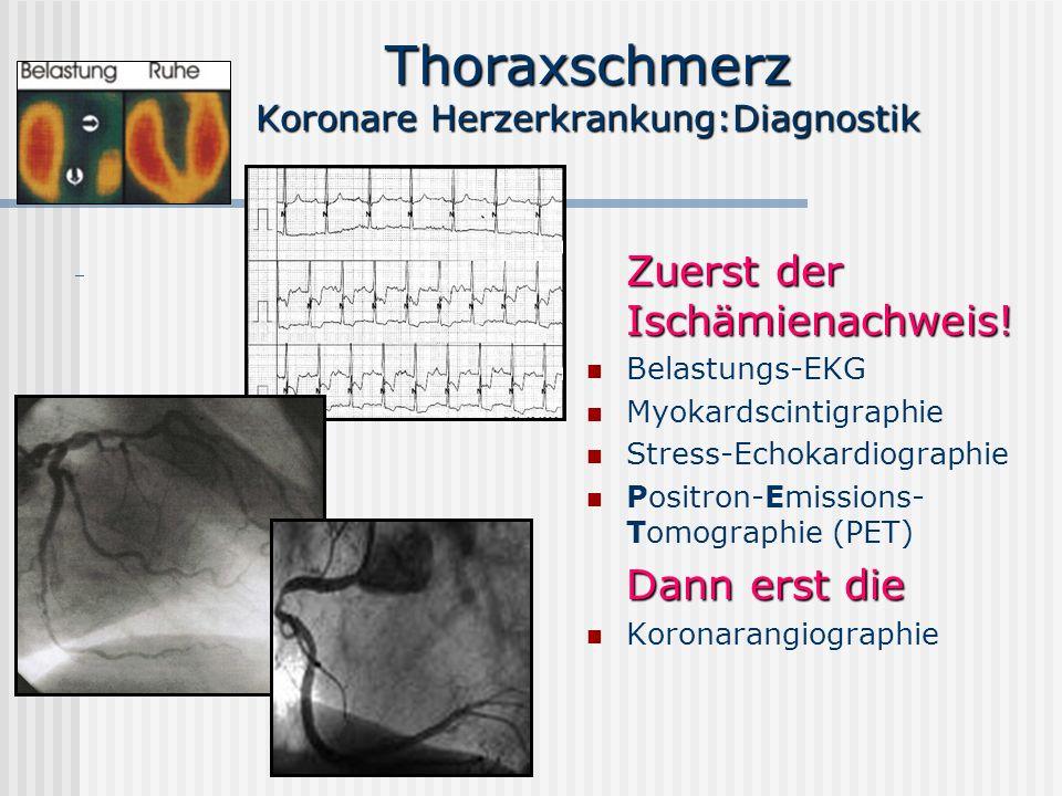 Thoraxschmerz Koronare Herzerkrankung:Diagnostik Zuerst der Ischämienachweis! Belastungs-EKG Myokardscintigraphie Stress-Echokardiographie Positron-Em