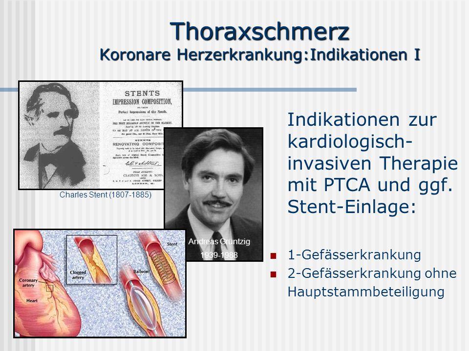 Thoraxschmerz Koronare Herzerkrankung:Indikationen I Indikationen zur kardiologisch- invasiven Therapie mit PTCA und ggf. Stent-Einlage: 1-Gefässerkra