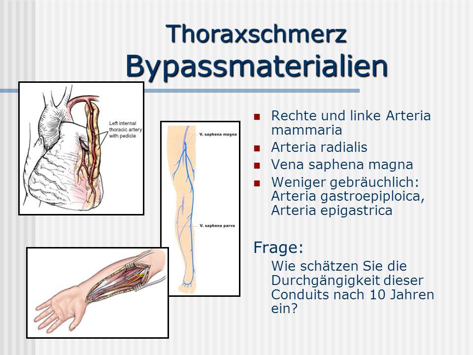 Thoraxschmerz Bypassmaterialien Rechte und linke Arteria mammaria Arteria radialis Vena saphena magna Weniger gebräuchlich: Arteria gastroepiploica, A