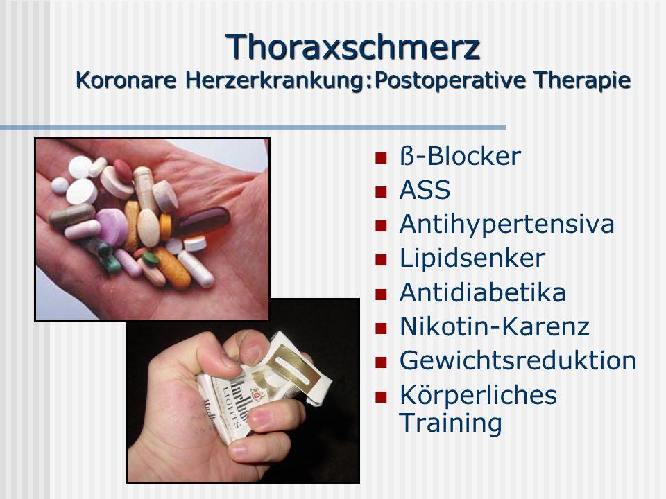 Thoraxschmerz Koronare Herzerkrankung:Postoperative Therapie ß-Blocker ASS Antihypertensiva Lipidsenker Antidiabetika Nikotin-Karenz Gewichtsreduktion