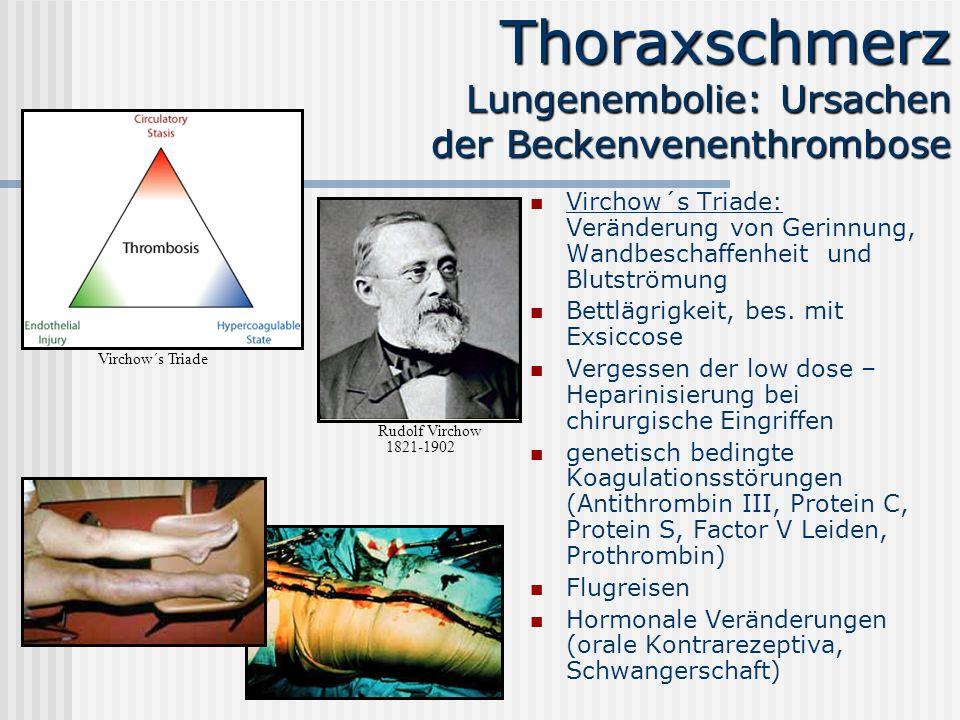 Thoraxschmerz Lungenembolie: Ursachen der Beckenvenenthrombose Virchow´s Triade: Veränderung von Gerinnung, Wandbeschaffenheit und Blutströmung Bettlä