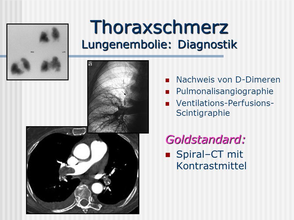 Thoraxschmerz Lungenembolie:Therapie Leichte Formen: iv-Heparin Periphere Embolisation: Systemische Lyse (Streptokinase, r- T issue- P lasmin- A ktivator ) Zentrale Embolisation: Operative Thrombektomie mit ECC