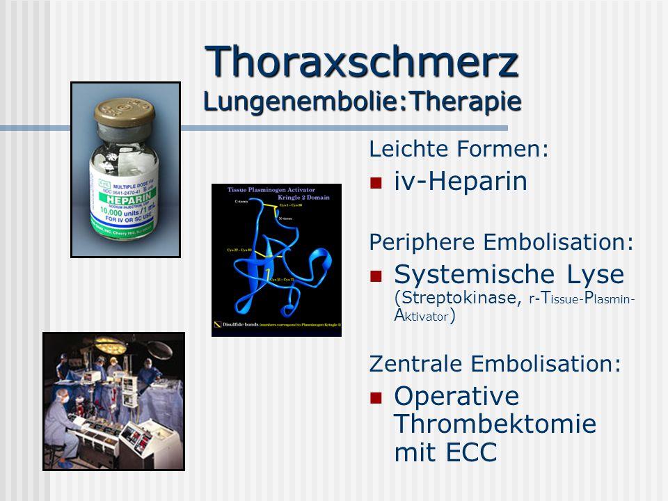 Thoraxschmerz Lungenembolie:Therapie Leichte Formen: iv-Heparin Periphere Embolisation: Systemische Lyse (Streptokinase, r- T issue- P lasmin- A ktiva