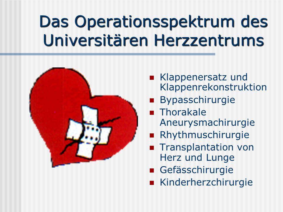 Das Operationsspektrum des Universitären Herzzentrums Klappenersatz und Klappenrekonstruktion Bypasschirurgie Thorakale Aneurysmachirurgie Rhythmuschi