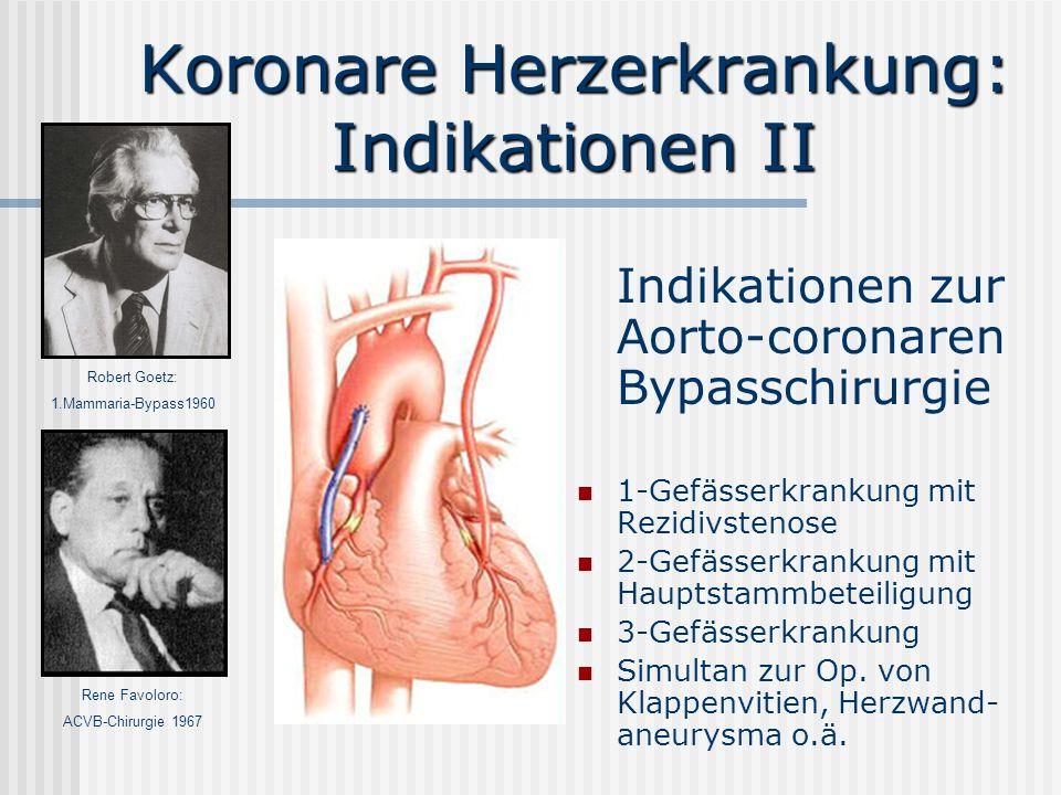 Koronare Herzerkrankung: Indikationen II Indikationen zur Aorto-coronaren Bypasschirurgie 1-Gefässerkrankung mit Rezidivstenose 2-Gefässerkrankung mit