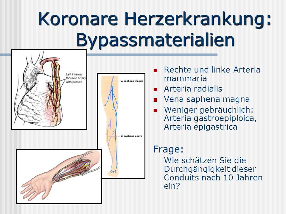 Koronare Herzerkrankung: Bypassmaterialien Rechte und linke Arteria mammaria Arteria radialis Vena saphena magna Weniger gebräuchlich: Arteria gastroe