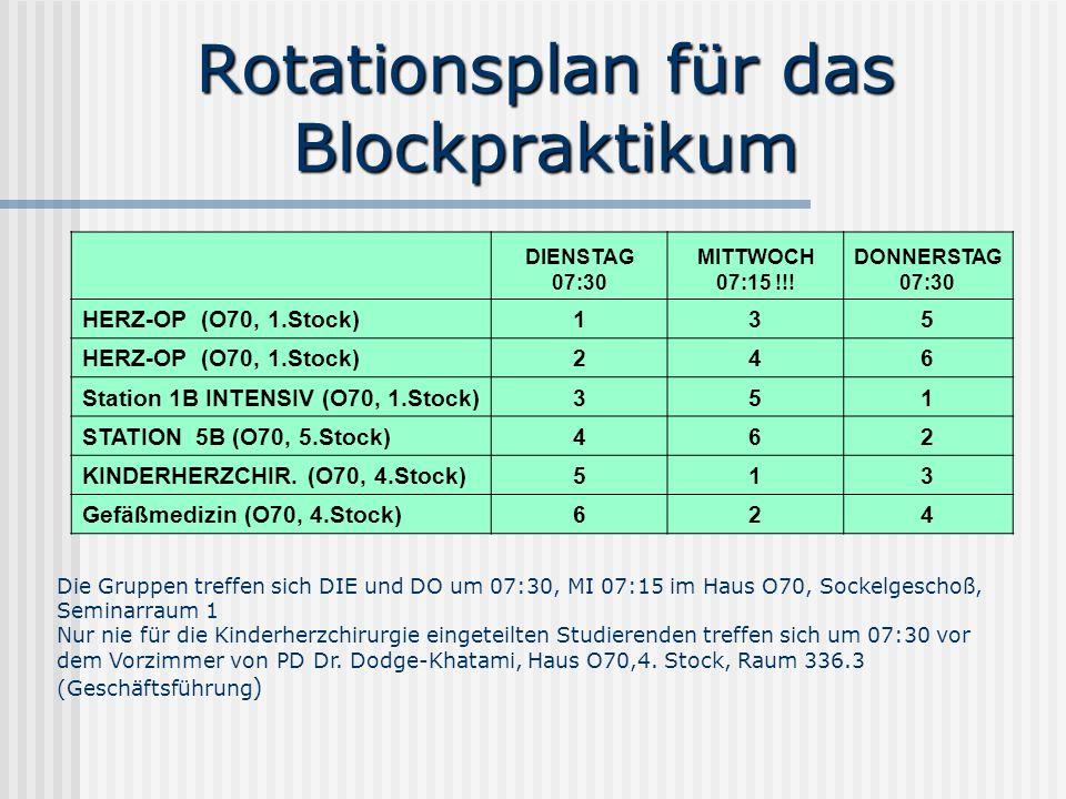 Rotationsplan für das Blockpraktikum DIENSTAG 07:30 MITTWOCH 07:15 !!! DONNERSTAG 07:30 HERZ-OP (O70, 1.Stock)135 246 Station 1B INTENSIV (O70, 1.Stoc