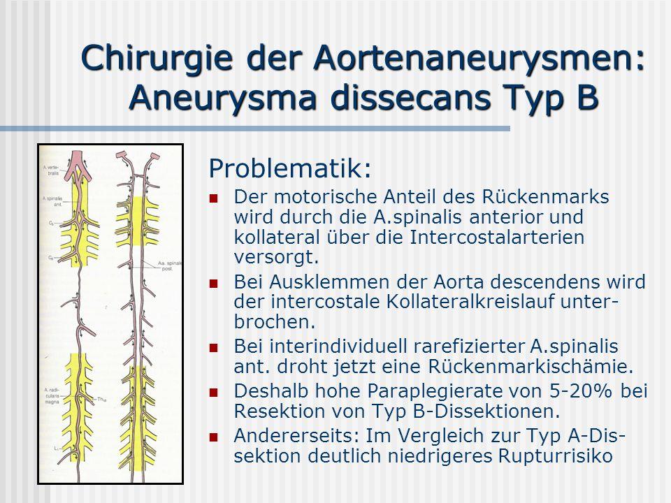 Chirurgie der Aortenaneurysmen: Aneurysma dissecans Typ B Problematik: Der motorische Anteil des Rückenmarks wird durch die A.spinalis anterior und ko