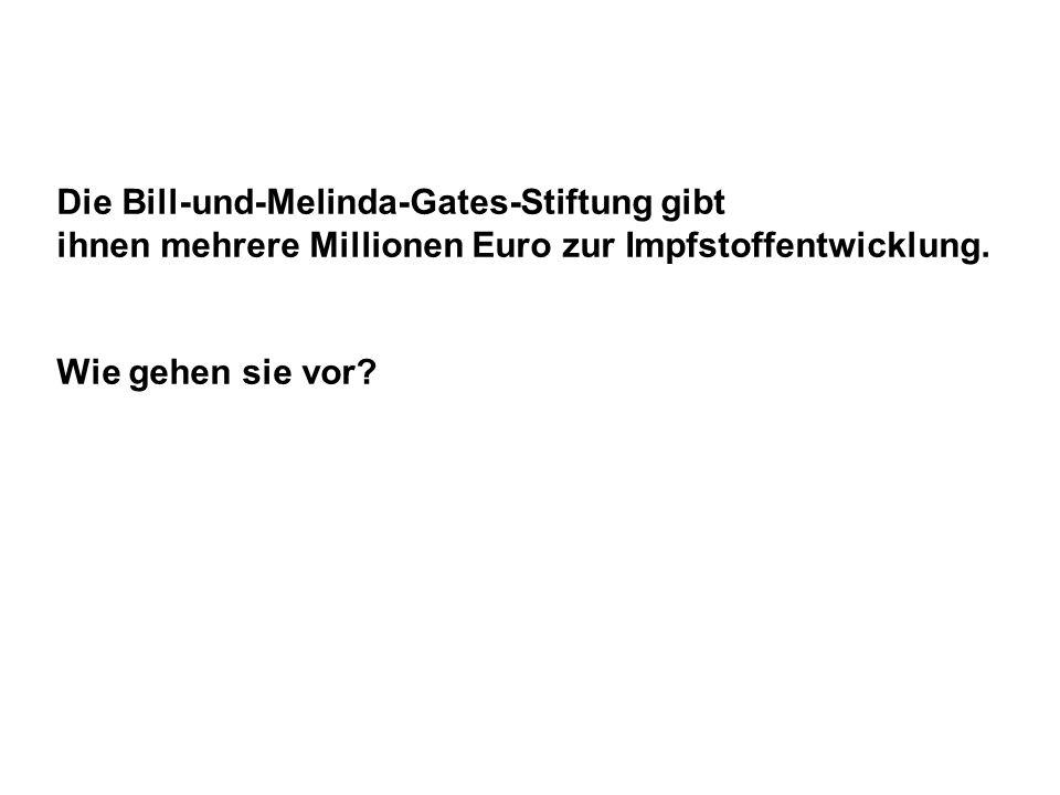 Die Bill-und-Melinda-Gates-Stiftung gibt ihnen mehrere Millionen Euro zur Impfstoffentwicklung. Wie gehen sie vor?