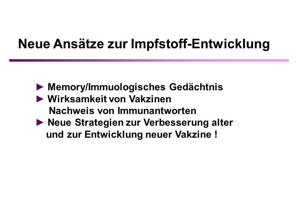 Neue Ansätze zur Impfstoff-Entwicklung Memory/Immuologisches Gedächtnis Wirksamkeit von Vakzinen Nachweis von Immunantworten Neue Strategien zur Verbesserung alter und zur Entwicklung neuer Vakzine !