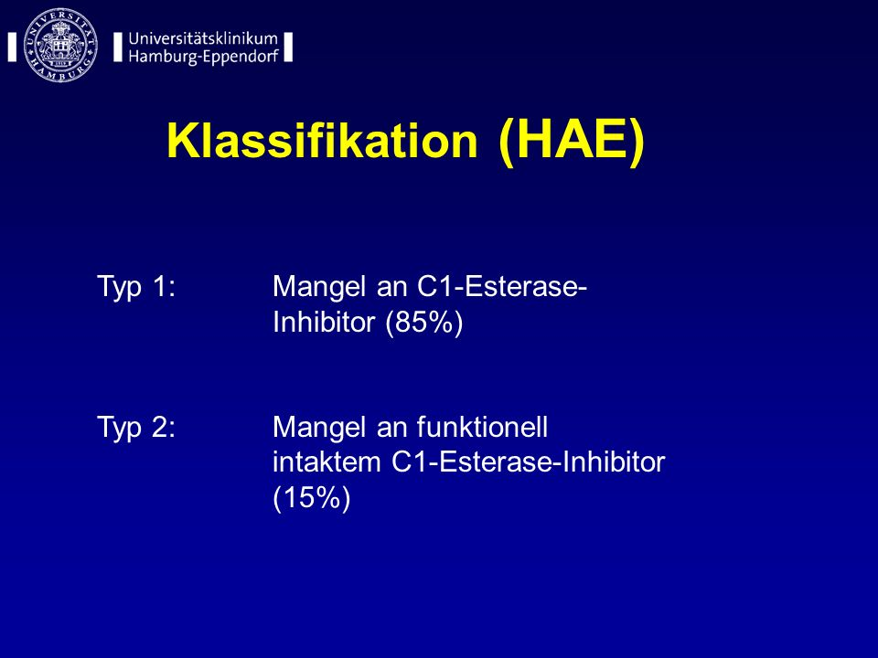 Klassifikation (HAE) Typ 1: Mangel an C1-Esterase- Inhibitor (85%) Typ 2:Mangel an funktionell intaktem C1-Esterase-Inhibitor (15%)