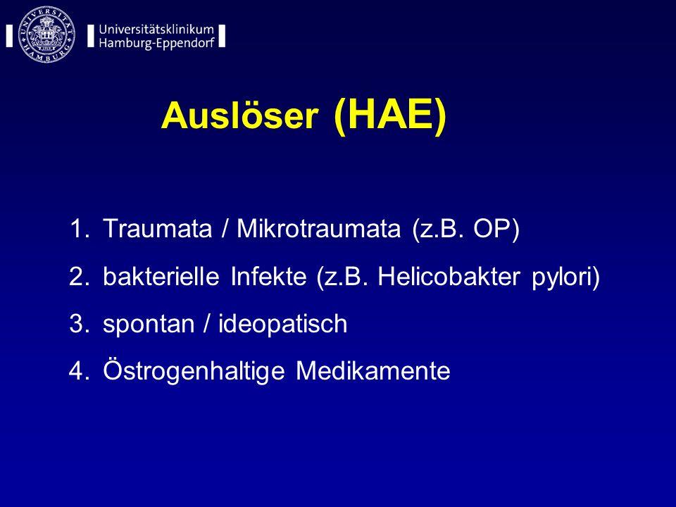 Auslöser (HAE) 1.Traumata / Mikrotraumata (z.B. OP) 2.bakterielle Infekte (z.B. Helicobakter pylori) 3.spontan / ideopatisch 4.Östrogenhaltige Medikam