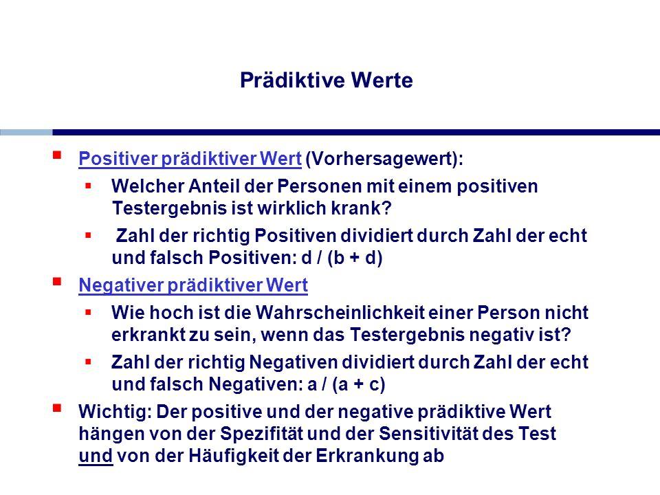 Prädiktive Werte Positiver prädiktiver Wert (Vorhersagewert): Welcher Anteil der Personen mit einem positiven Testergebnis ist wirklich krank? Zahl de