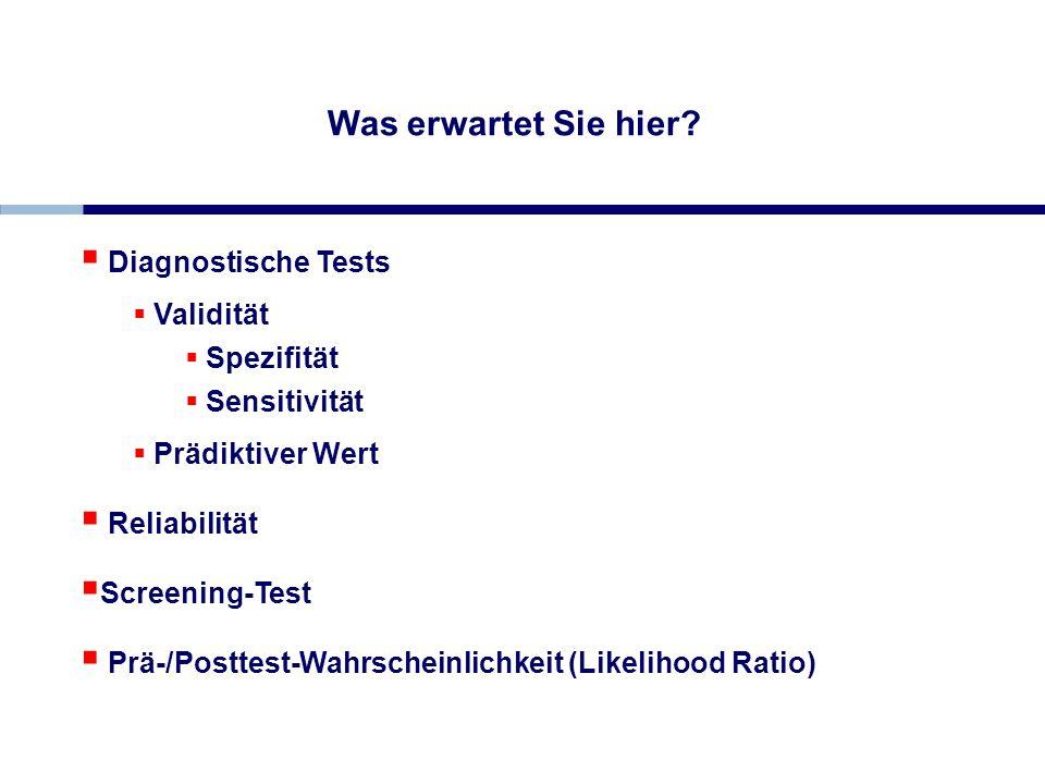 Diagnostische Tests Validität Spezifität Sensitivität Prädiktiver Wert Reliabilität Screening-Test Prä-/Posttest-Wahrscheinlichkeit (Likelihood Ratio)