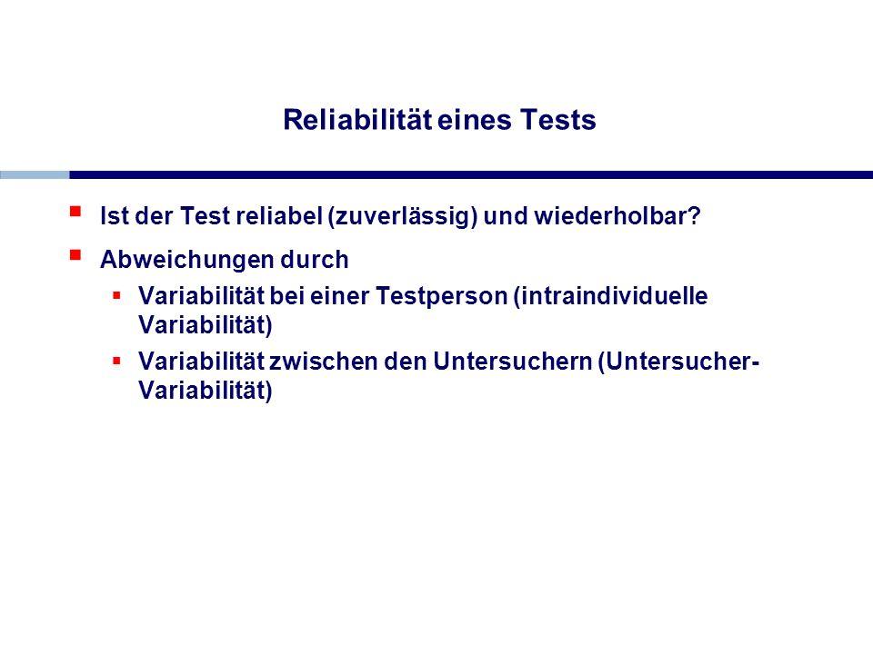 Reliabilität eines Tests Ist der Test reliabel (zuverlässig) und wiederholbar? Abweichungen durch Variabilität bei einer Testperson (intraindividuelle