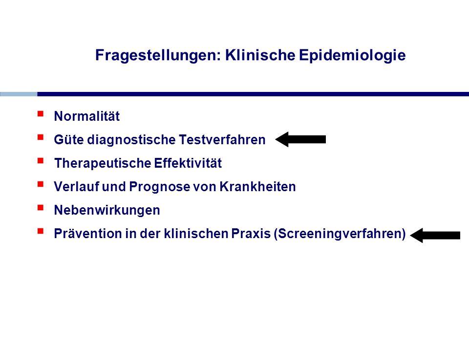 Fragestellungen: Klinische Epidemiologie Normalität Güte diagnostische Testverfahren Therapeutische Effektivität Verlauf und Prognose von Krankheiten