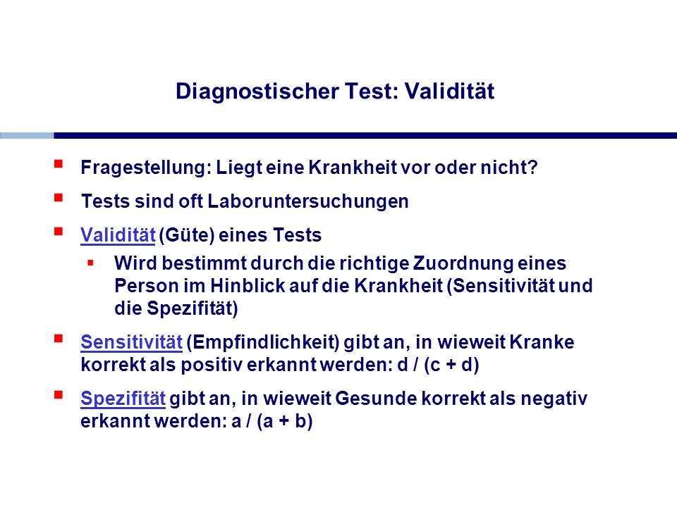 Diagnostischer Test: Validität Fragestellung: Liegt eine Krankheit vor oder nicht? Tests sind oft Laboruntersuchungen Validität (Güte) eines Tests Wir
