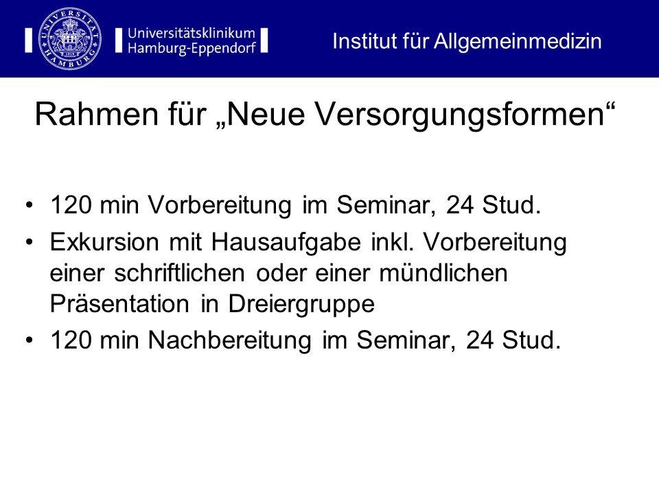 Rahmen für Neue Versorgungsformen 120 min Vorbereitung im Seminar, 24 Stud. Exkursion mit Hausaufgabe inkl. Vorbereitung einer schriftlichen oder eine