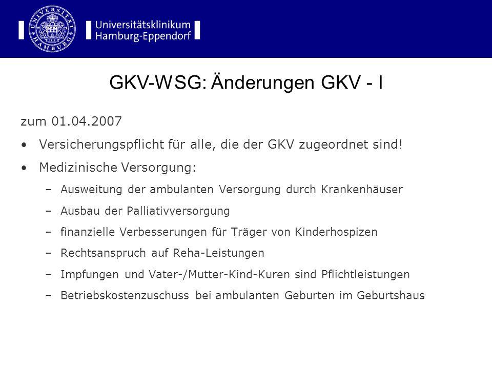 zum 01.04.2007 Versicherungspflicht für alle, die der GKV zugeordnet sind! Medizinische Versorgung: –Ausweitung der ambulanten Versorgung durch Kranke
