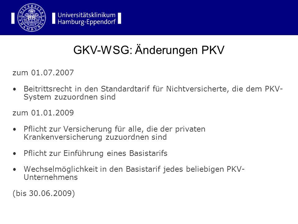 zum 01.07.2007 Beitrittsrecht in den Standardtarif für Nichtversicherte, die dem PKV- System zuzuordnen sind zum 01.01.2009 Pflicht zur Versicherung f