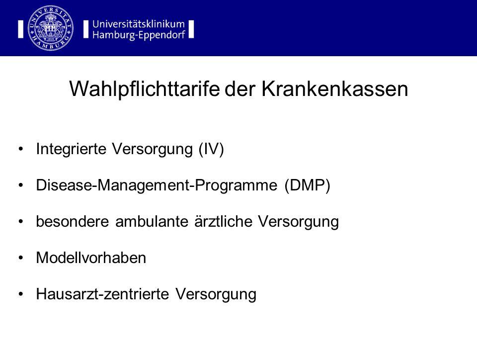 Integrierte Versorgung (IV) Disease-Management-Programme (DMP) besondere ambulante ärztliche Versorgung Modellvorhaben Hausarzt-zentrierte Versorgung