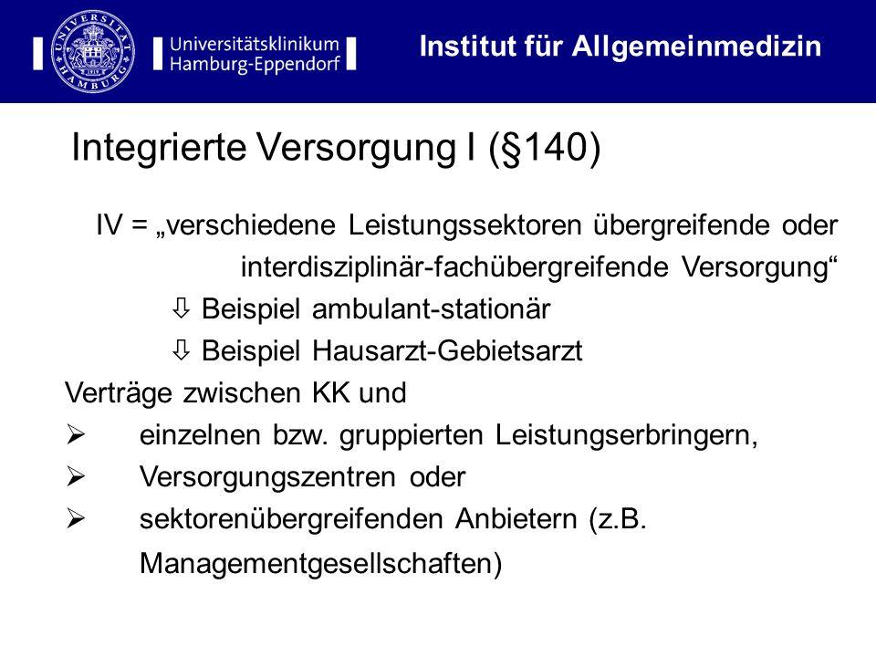 Institut für Allgemeinmedizin IV = verschiedene Leistungssektoren übergreifende oder interdisziplinär-fachübergreifende Versorgung Beispiel ambulant-s