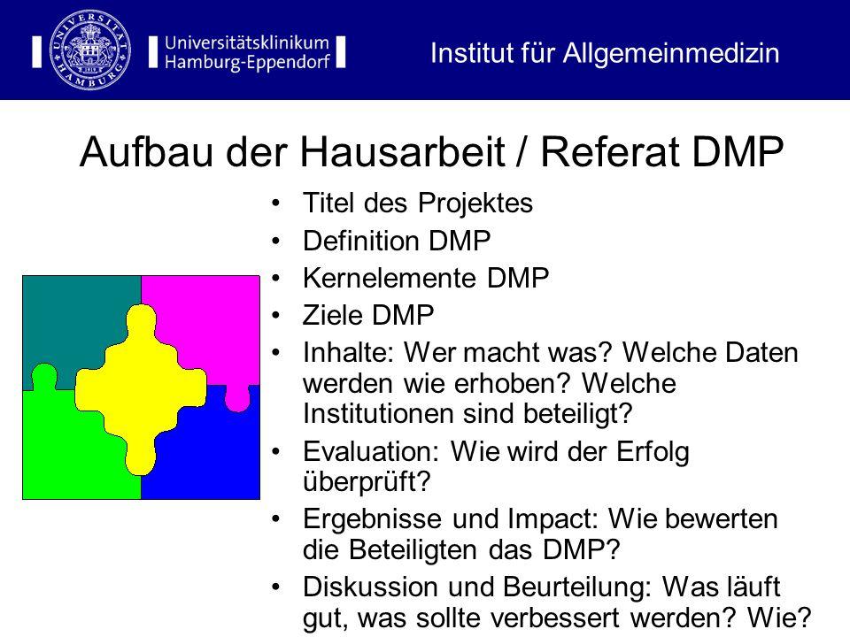 Titel des Projektes Definition DMP Kernelemente DMP Ziele DMP Inhalte: Wer macht was? Welche Daten werden wie erhoben? Welche Institutionen sind betei