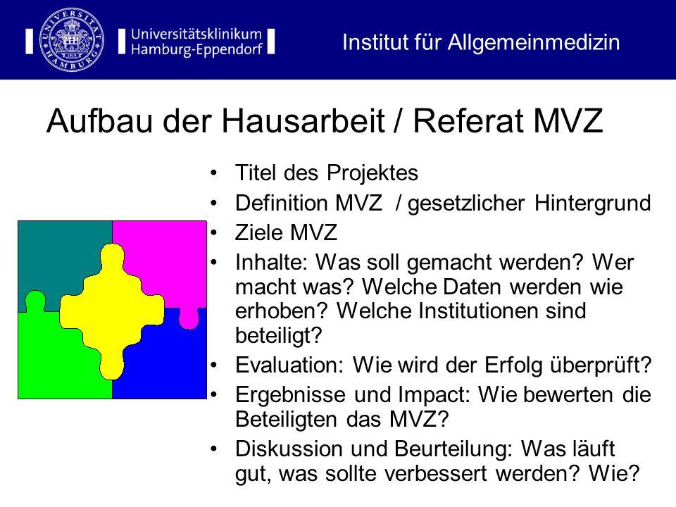 Titel des Projektes Definition MVZ / gesetzlicher Hintergrund Ziele MVZ Inhalte: Was soll gemacht werden? Wer macht was? Welche Daten werden wie erhob