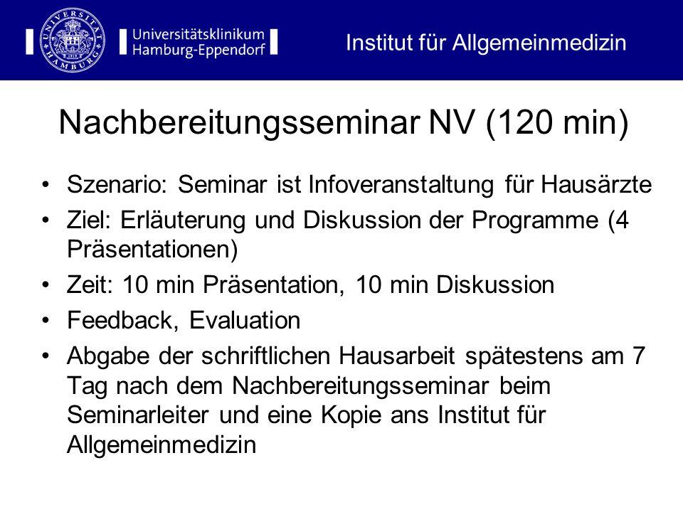 Szenario: Seminar ist Infoveranstaltung für Hausärzte Ziel: Erläuterung und Diskussion der Programme (4 Präsentationen) Zeit: 10 min Präsentation, 10