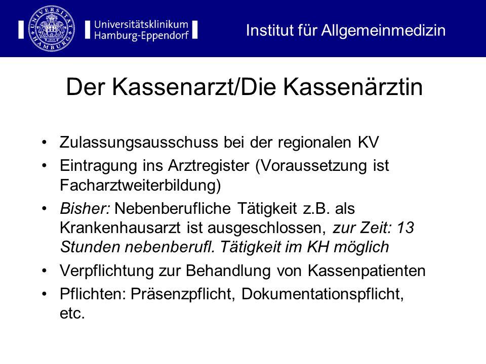Institut für Allgemeinmedizin Zulassungsausschuss bei der regionalen KV Eintragung ins Arztregister (Voraussetzung ist Facharztweiterbildung) Bisher: