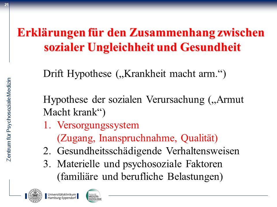 Zentrum für Psychosoziale Medizin 21 Erklärungen für den Zusammenhang zwischen sozialer Ungleichheit und Gesundheit Drift Hypothese (Krankheit macht a