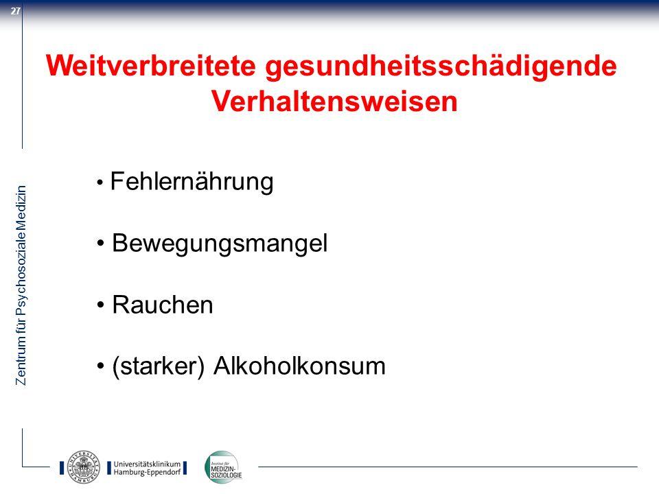 Zentrum für Psychosoziale Medizin 27 Weitverbreitete gesundheitsschädigende Verhaltensweisen Fehlernährung Bewegungsmangel Rauchen (starker) Alkoholko
