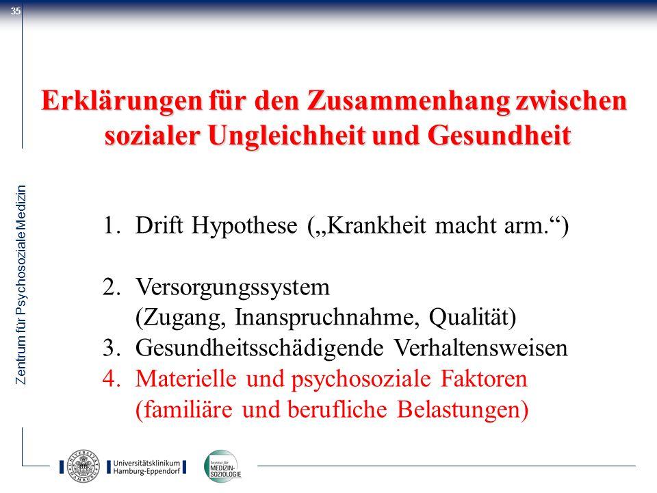 Zentrum für Psychosoziale Medizin 35 Erklärungen für den Zusammenhang zwischen sozialer Ungleichheit und Gesundheit 1.Drift Hypothese (Krankheit macht