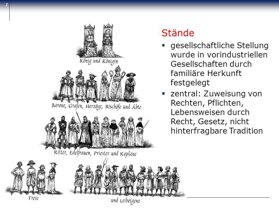 Zentrum für Psychosoziale Medizin 7 Stände gesellschaftliche Stellung wurde in vorindustriellen Gesellschaften durch familiäre Herkunft festgelegt zen