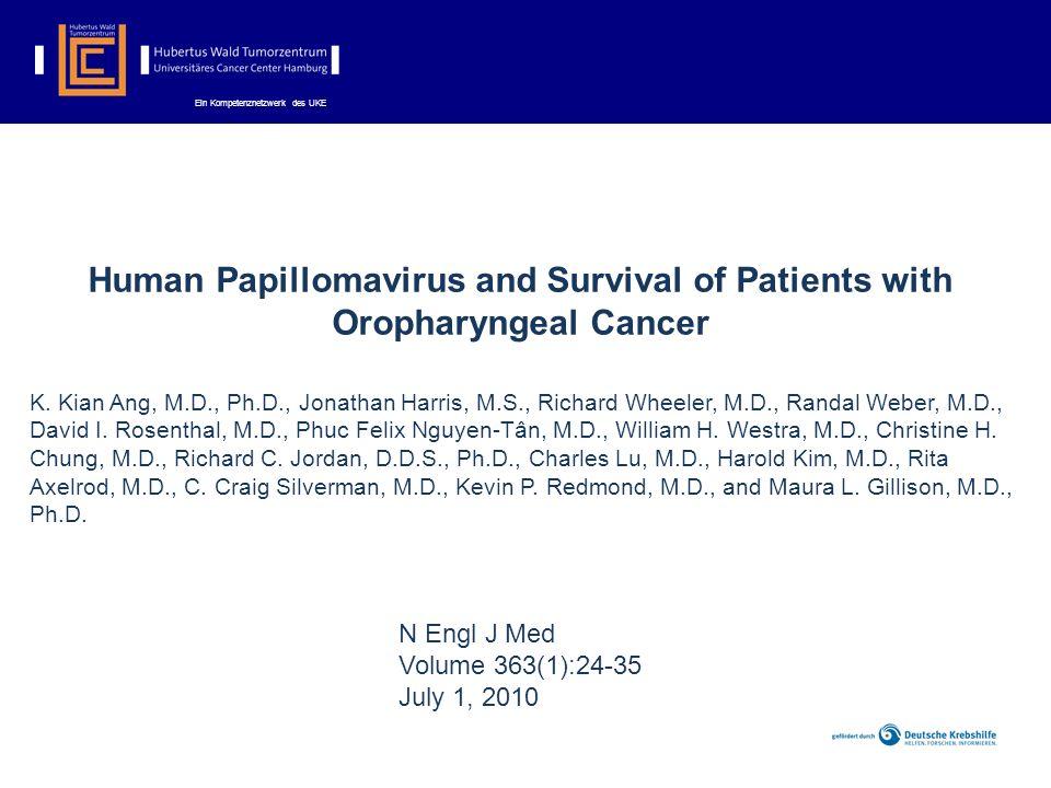 Ein Kompetenznetzwerk des UKE Human Papillomavirus and Survival of Patients with Oropharyngeal Cancer K.