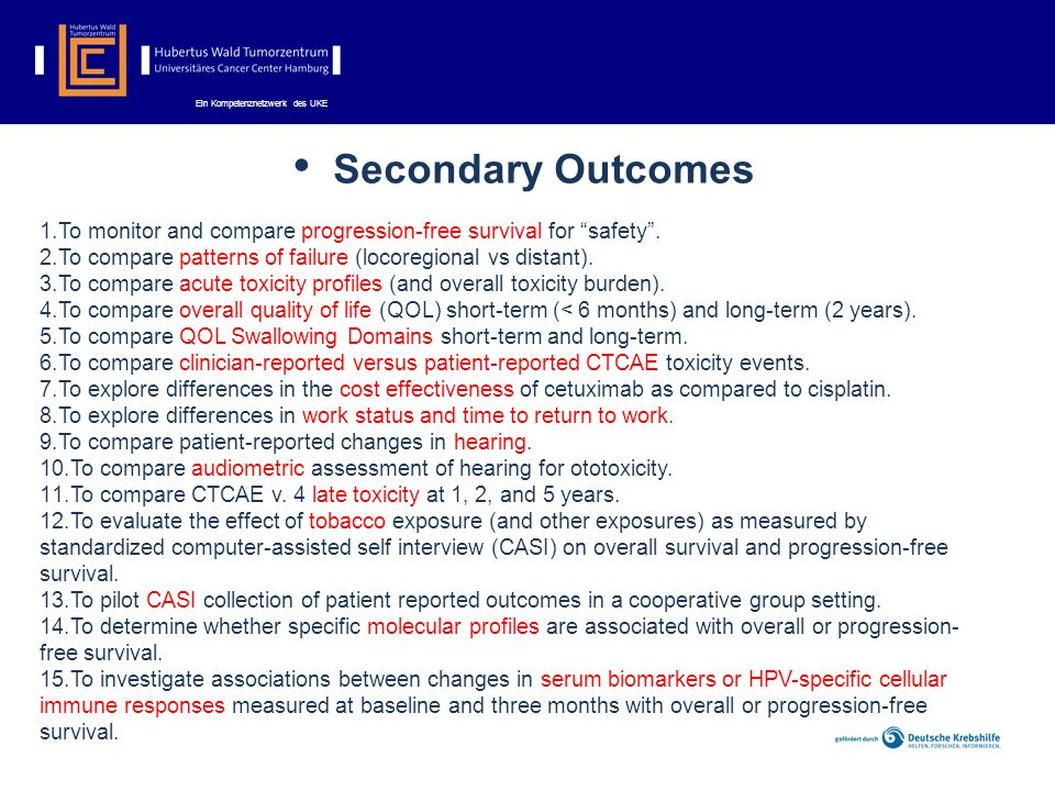 Secondary Outcomes 1.To monitor and compare progression-free survival for safety.