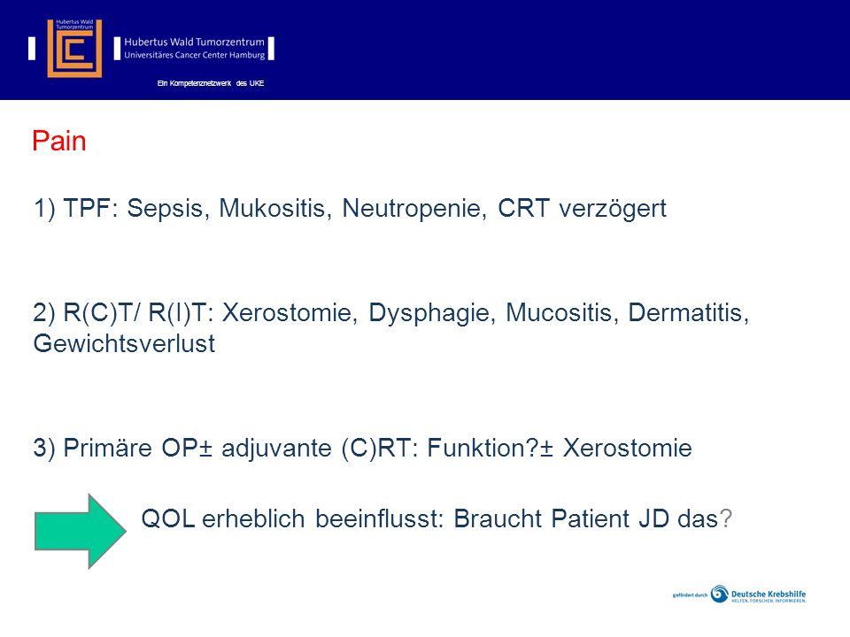 Ein Kompetenznetzwerk des UKE Pain 1) TPF: Sepsis, Mukositis, Neutropenie, CRT verzögert 2) R(C)T/ R(I)T: Xerostomie, Dysphagie, Mucositis, Dermatitis, Gewichtsverlust 3) Primäre OP± adjuvante (C)RT: Funktion?± Xerostomie QOL erheblich beeinflusst: Braucht Patient JD das?