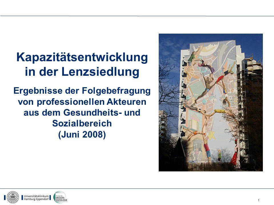 1 Kapazitätsentwicklung in der Lenzsiedlung Ergebnisse der Folgebefragung von professionellen Akteuren aus dem Gesundheits- und Sozialbereich (Juni 20