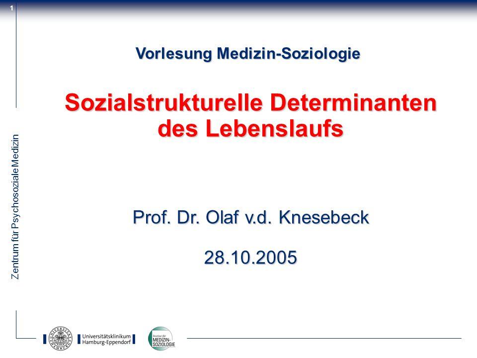 Zentrum für Psychosoziale Medizin 1 Vorlesung Medizin-Soziologie Sozialstrukturelle Determinanten des Lebenslaufs Prof. Dr. Olaf v.d. Knesebeck 28.10.