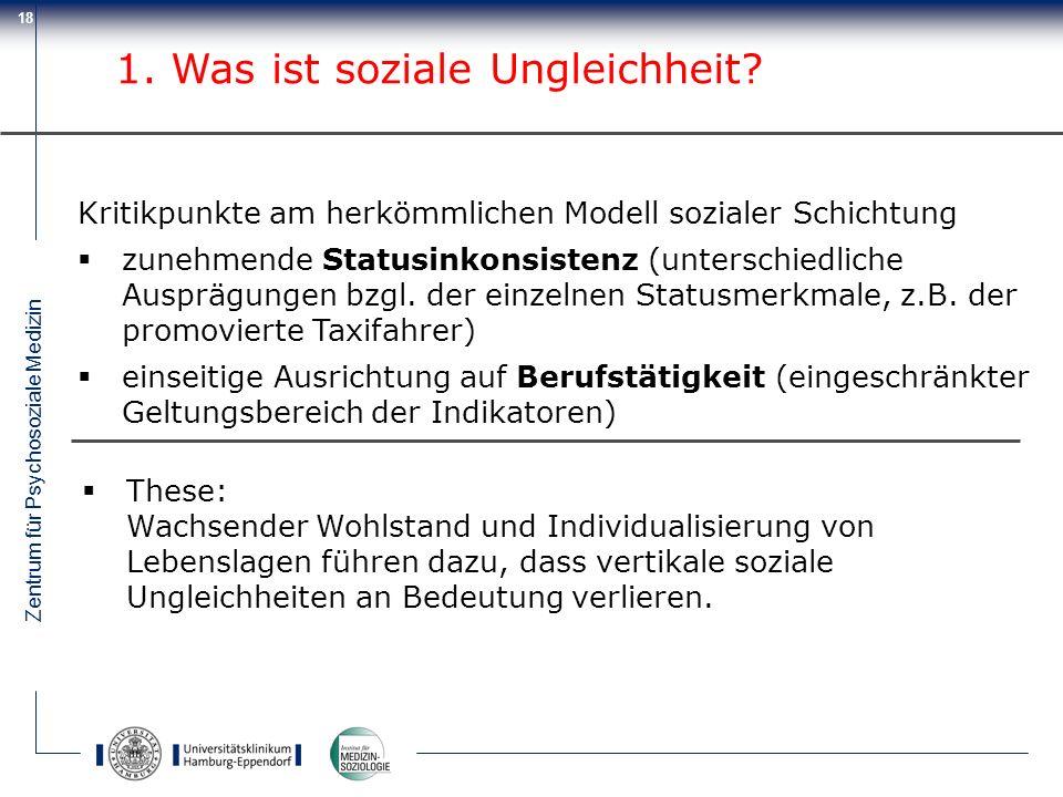 Zentrum für Psychosoziale Medizin 18 Kritikpunkte am herkömmlichen Modell sozialer Schichtung zunehmende Statusinkonsistenz (unterschiedliche Ausprägu