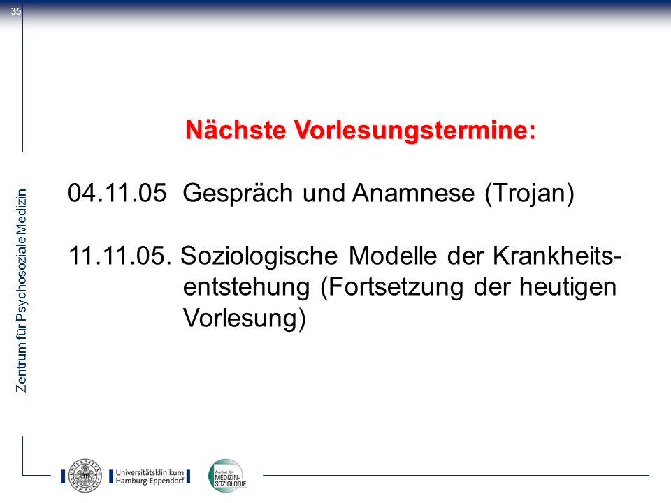Zentrum für Psychosoziale Medizin 35 Nächste Vorlesungstermine: 04.11.05 Gespräch und Anamnese (Trojan) 11.11.05. Soziologische Modelle der Krankheits