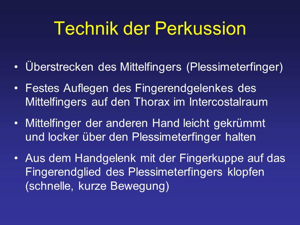 Technik der Perkussion Überstrecken des Mittelfingers (Plessimeterfinger) Festes Auflegen des Fingerendgelenkes des Mittelfingers auf den Thorax im In