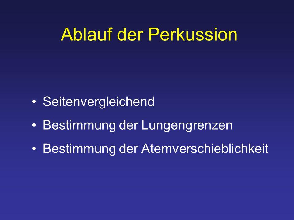 Ablauf der Perkussion Seitenvergleichend Bestimmung der Lungengrenzen Bestimmung der Atemverschieblichkeit